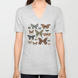 Butterflies and Moth Specimens Unisex V-Neck