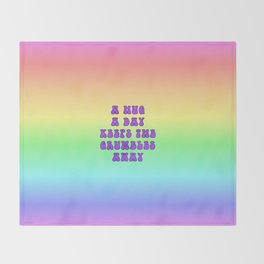 Hug a Day (Purple on Rainbow) Throw Blanket