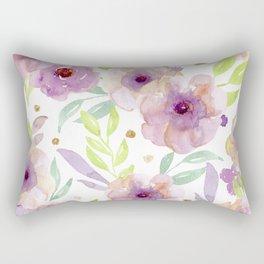 watercolor violet flowers Rectangular Pillow