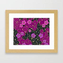 Gold Metallic, Purple Floral on Black Framed Art Print