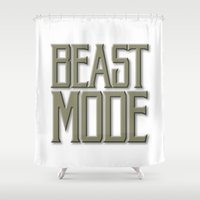 depeche mode Shower Curtains featuring Beast Mode by Art Lahr