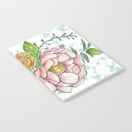 Peonies and paint dots Notebook