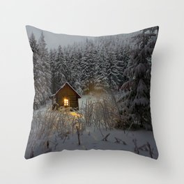 Tiny Cabin In The Winter Forest Snow Covered Pine Trees Throw Pillow