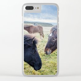 Icelandic Horses. Clear iPhone Case