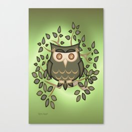 The Wise Old Owl .. fantasy bird Canvas Print