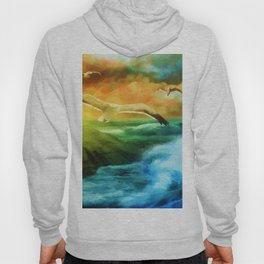 Seagull Flying Off The Coast (Color) Hoody