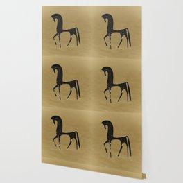Black Horse in Desert Wallpaper
