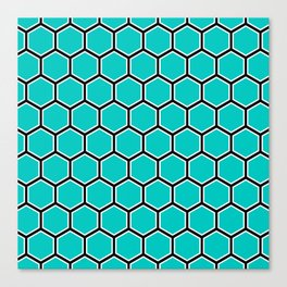 Bright turquoise, white and black hexagonal pattern Canvas Print