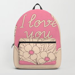 pink heart with flowers Backpack