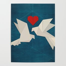 Origami Lovebirds Poster