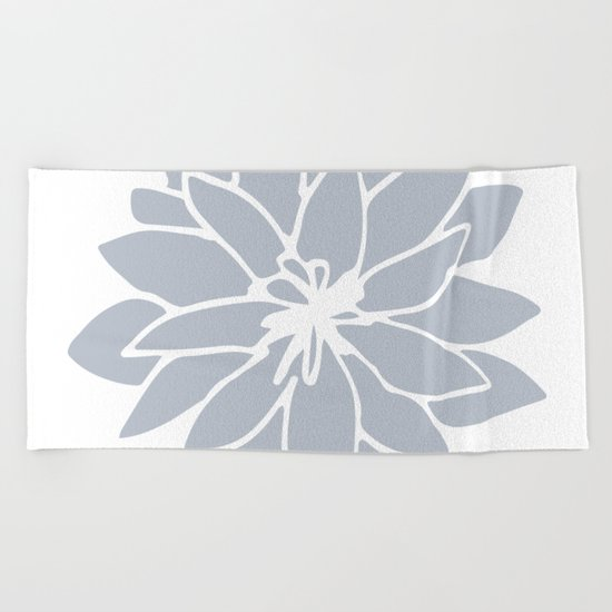 Flower Bluebell Blue on White Beach Towel