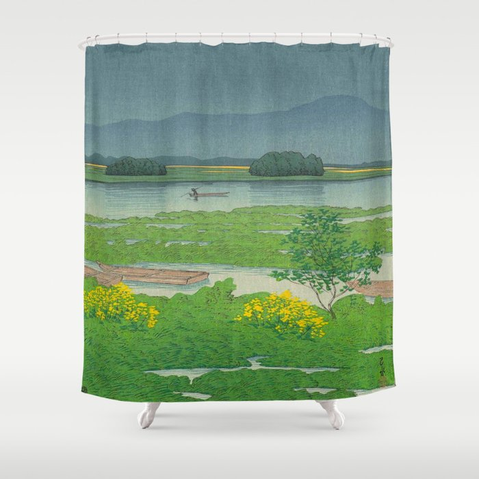 Kawase Hasui Vintage Japanese Woodblock Print Flooded Asian Rice Field Mountain Parallax Landscape Shower Curtain