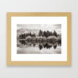 Aspen Colorado Mountains and Sepia Reflections Framed Art Print