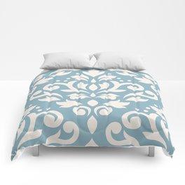 Scroll Damask Large Pattern Cream on Blue Comforters