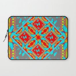 Decorative Western Style Red Patterns & Turquoise Butterflies Laptop Sleeve