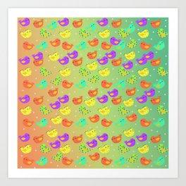 colorful happy birds party Art Print