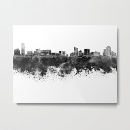 Grand Rapids skyline in black watercolor Metal Print