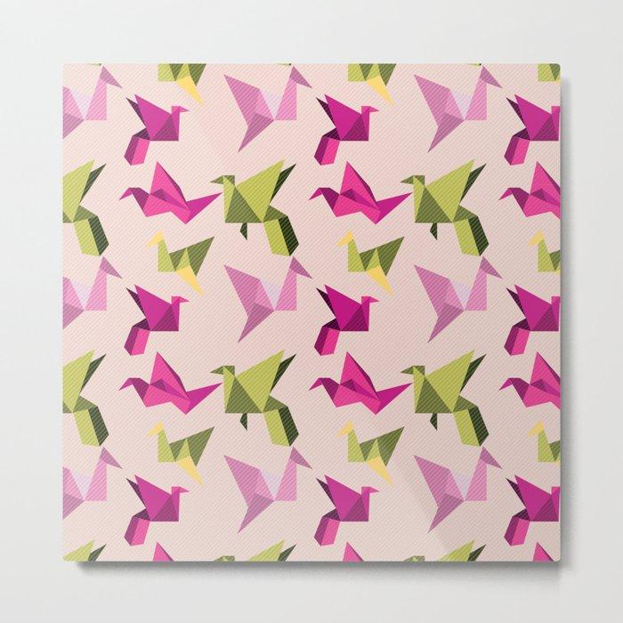 pink paper cranes Metal Print