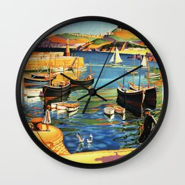 Vintage St. Ives Cornwall England Travel Wall Clock