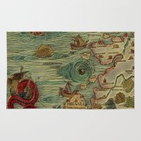 antique Area & Throw Rugs featuring Antique Map by Lucia