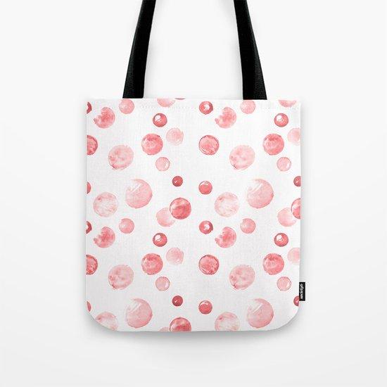 Wewak Pink Watercolors Polka Dots Tote Bag