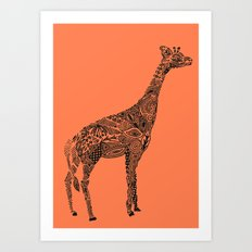 Designer Giraffe Coral Art Print
