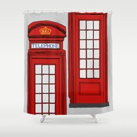 telephone Shower Curtains featuring Telephone Booth by Maria Lauren Lambiris