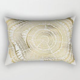 Gold Tree Rings Rectangular Pillow