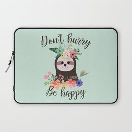 SLOTH ADVICE (mint green) - DON'T HURRY, BE HAPPY! Laptop Sleeve