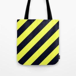 Black and Yellow Diagonal Stripes Tote Bag