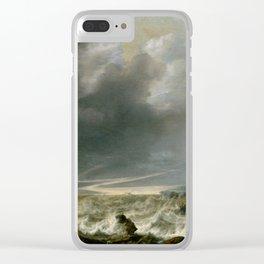 """Simon de Vlieger """"Ship in Distress off a Rocky Coast"""" Clear iPhone Case"""
