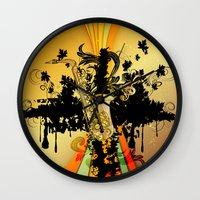 saxophone Wall Clocks featuring Saxophone by nicky2342