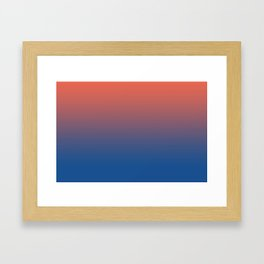 Pantone Living Coral & Turkish Sea Blue Gradient Ombre Blend Framed Art Print