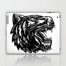 Growling Tiger Woodcut Black and White Laptop & iPad Skin
