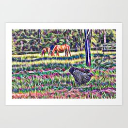 horses and hens in a field Art Print