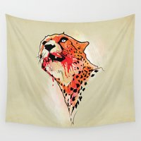 cheetah Wall Tapestries featuring CHEETAH by KUI29