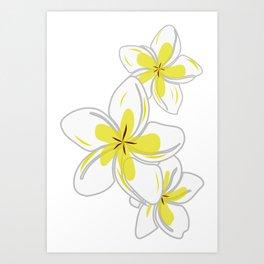 Plumeria Flower Hawaiian Floral Pattern Art Print