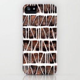 Watercolor Pattern Play - Triangle Meets Rectangle - Hematite + Bronze iPhone Case