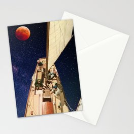 Sailing under the Blood Moon Stationery Cards