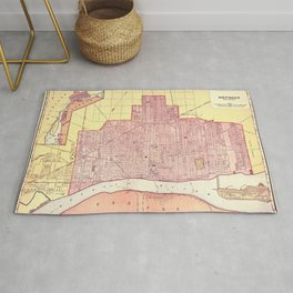 Map Of Detroit 1898 Rug