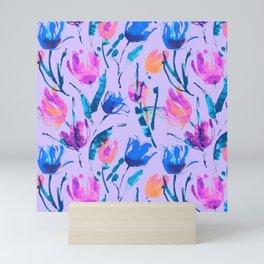 Tulip fever (floral seamless pattern in lilac, ultramarine, magenta, blue, orange colours) Mini Art Print