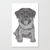 rottweiler Canvas Prints featuring Courageous- Rottweiler by DiAnne Ferrer