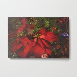Red Poinsettia Metal Print