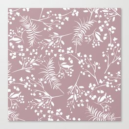 Modern mauve pink white hand painted floral Canvas Print