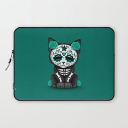 Cute Teal Blue Day of the Dead Kitten Cat Laptop Sleeve