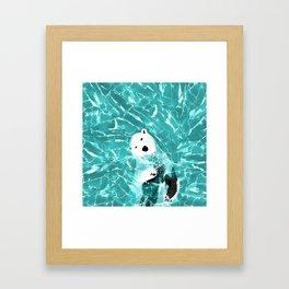 Playful Polar Bear In Turquoise Water Design Framed Art Print