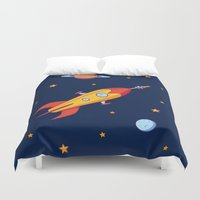 spaceship Duvet Covers featuring Spaceship! by Doodle Dojo