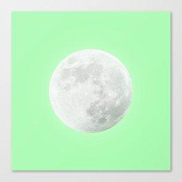 WHITE MOON + LIME SKY Canvas Print