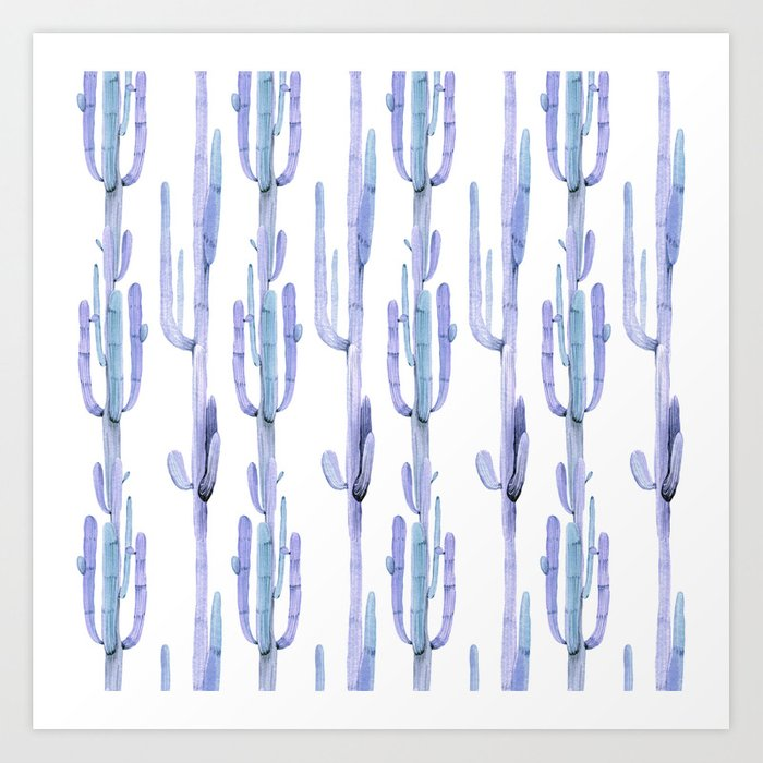Blue Cactus Stack Pattern Art Print