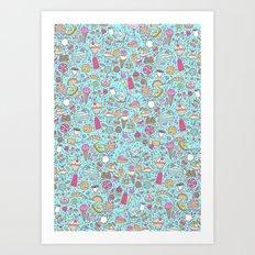 Sweet candy pattern (blue) Art Print